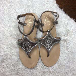 Jack Rogers Maci Ankle Strap Silver Sandals